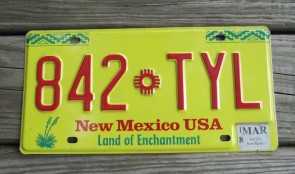 New Mexico Yellow Land Of Enchantment License Plate 2018