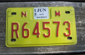 New Mexico Motorcycle License Plate Yellow Red 2015