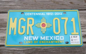 New Mexico Centennial License Plate 2014 Land Of Enchantment 1912 -2012 MGR 071