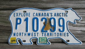 Canada North West Territories Polar Bear License Plate 2004