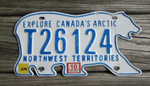 Canada North West Territories Polar Bear License Plate 2010