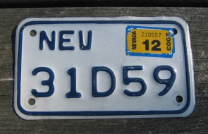 Nevada Motorcycle License Plate White Blue2003