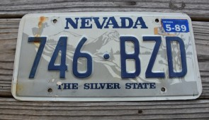 Nevada Big Horn Ram License Plate The Silver State 1989