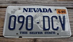 Nevada Big Horn Ram License Plate The Silver State 1990
