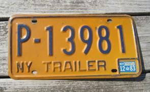 New York Blue Yellow License Plate 1983