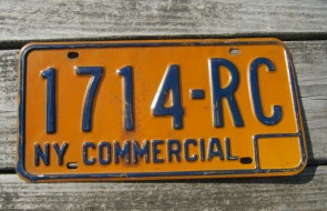 New York Blue Yellow License Plate 1970's