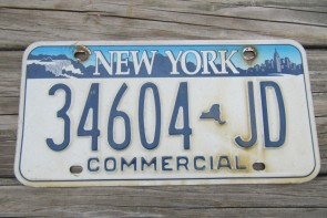 New York Blue White Commercial License Plate The Empire State