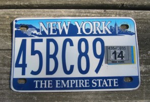 New York Motorcycle License Plate The Empire State 2014