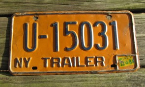 New York Blue Yellow License Plate 1984