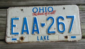 Ohio The Heart of It All License Plate 1990's
