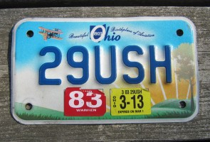 Ohio Motorcycle License Plate Birthplace of Aviation Sunset 2013