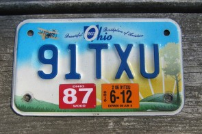 Ohio Motorcycle License Plate Birthplace of Aviation Sunset 2012