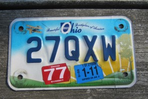 Ohio Motorcycle License Plate Birthplace of Aviation Sunset 2011
