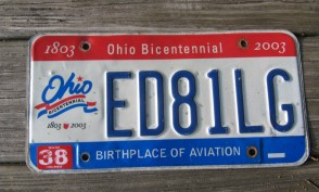 Ohio Bicentennial License Plate 2003