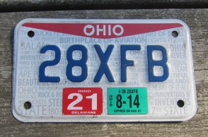 Ohio Motorcycle License Plate Birthplace of Aviation Pride 2014