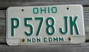Ohio Green White  License Plate 1990's
