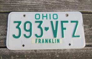 Ohio Green White Letters License Plate 1980's