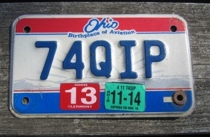 Ohio Motorcycle License Plate Birthplace of Aviation 2014