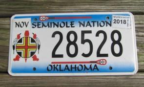 Oklahoma Seminole Nation License Plate Tribal 2018