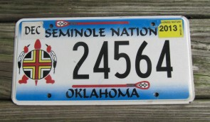 Oklahoma Seminole Nation License Plate Tribal 2006