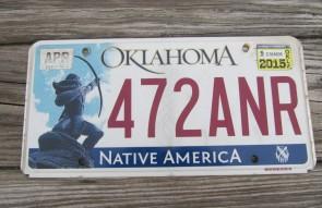 Oklahoma Arrow Shooter Native America License Plate 2015 472 ANR
