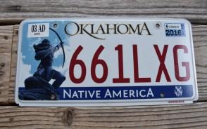 Oklahoma Arrow Shooter Native America License Plate 2016