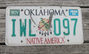 Oklahoma Native America License Plate 1998