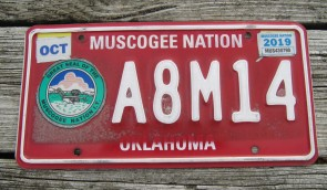 Oklahoma Muscogee Nation License Plate Indian Tribal 2019