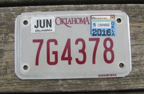 Oklahoma Motorcycle License Plate 2016