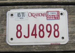 Oklahoma Motorcycle License Plate 2017