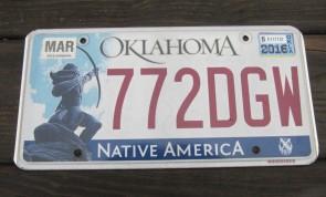 Oklahoma Arrow Shooter Native America License Plate 2016 772 DGW