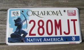 Oklahoma Arrow Shooter Native America License Plate 2017