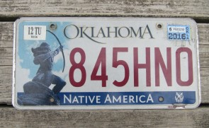Oklahoma Arrow Shooter Native America License Plate 2016