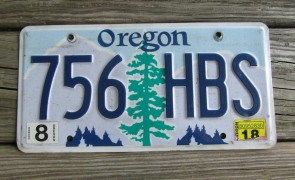 Oregon Tree and Mountains License Plate 2018