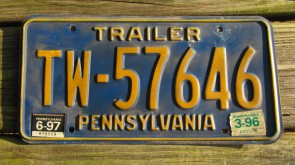 Pennsylvania Yellow Blue License Plate 1997
