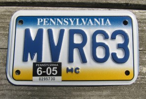 Pennsylvania Motorcycle License Plate State Base PA 2005
