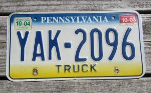 Pennsylvania Tri Color License Plate 2004 Truck