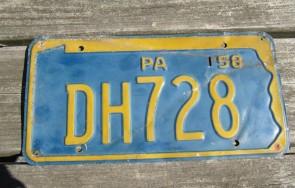 Pennsylvania Penna Keystone License Plate 1958