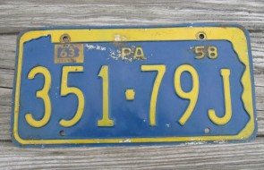 Pennsylvania State Shaped License Plate 1963 351 79J