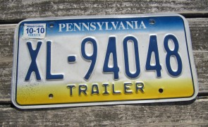 Pennsylvania Trailer License Plate 2010