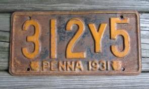 Pennsylvania Penna Keystone License Plate 1932