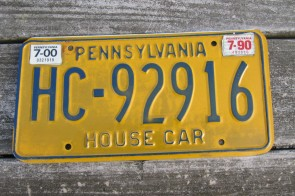 Pennsylvania Blue Yellow License Plate 2000