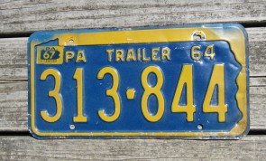 Pennsylvania State Shaped License Plate 1964 Trailer