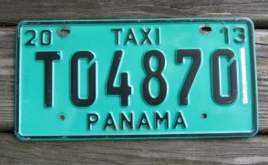 Panama Green Taxi License Plate 2013