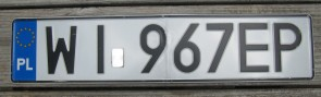 Poland Euro band License Plate WI 967 EP