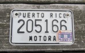 Puerto Rico Motorcycle License Plate Motora Island 2008