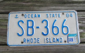 Rhode Island Blue White License Plate Ocean State 1992