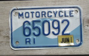 Rhode Island Motorcycle License Plate Ocean Wave 2007
