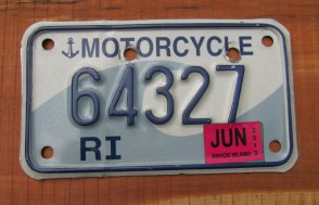 Rhode Island Motorcycle License Plate Ocean Wave 2013