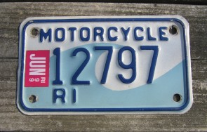 Rhode Island Motorcycle License Plate Wave 1999